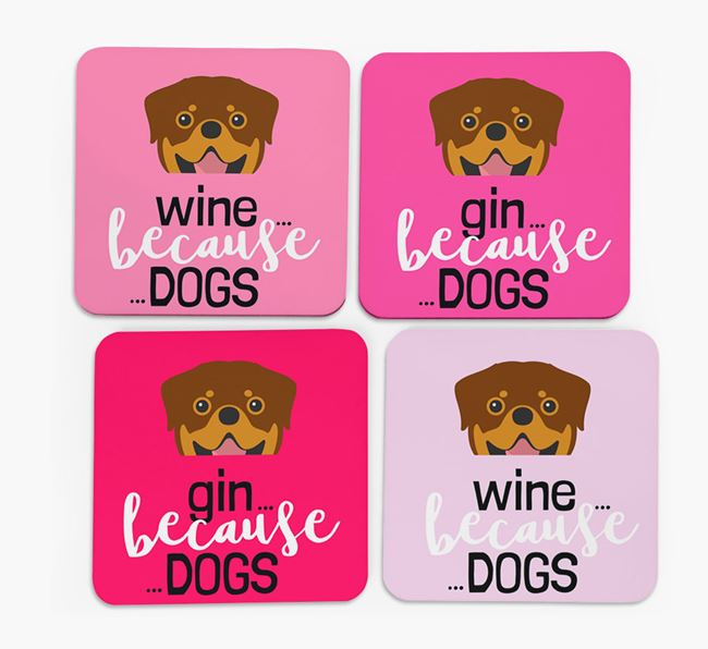 'Wine/Gin Because...Dogs' Coasters with Rottweiler icon - Set of 4