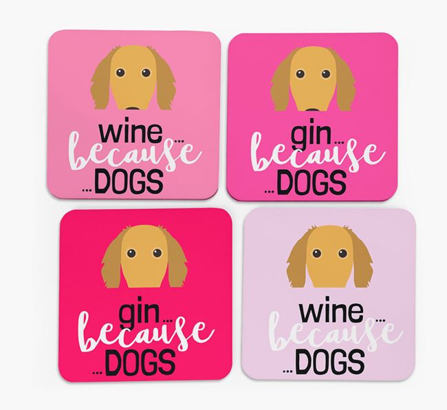 'Wine/Gin Because...Dogs' Coasters with Saluki icon - Set of 4