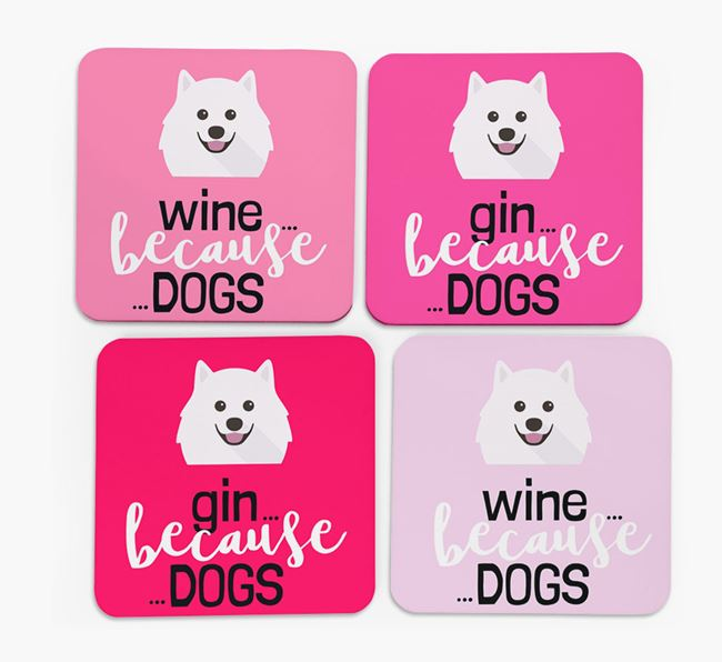 'Wine/Gin Because...Dogs' Coasters with Samoyed icon - Set of 4