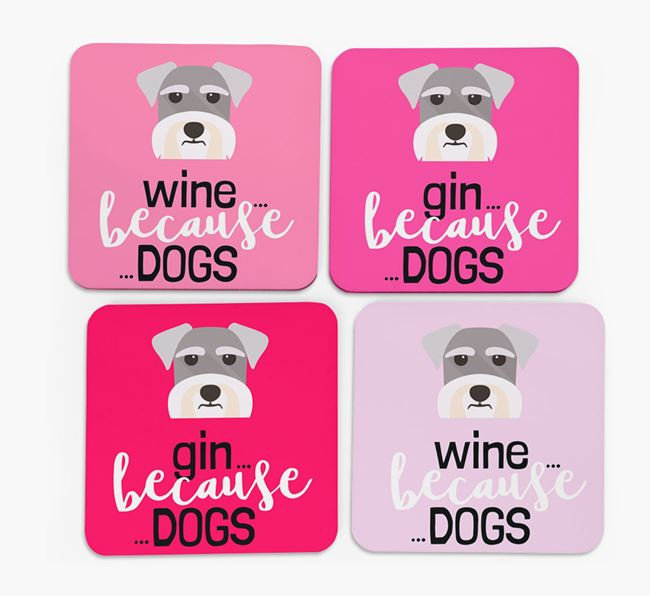 'Wine/Gin Because...Dogs' Coasters with Schnauzer icon - Set of 4