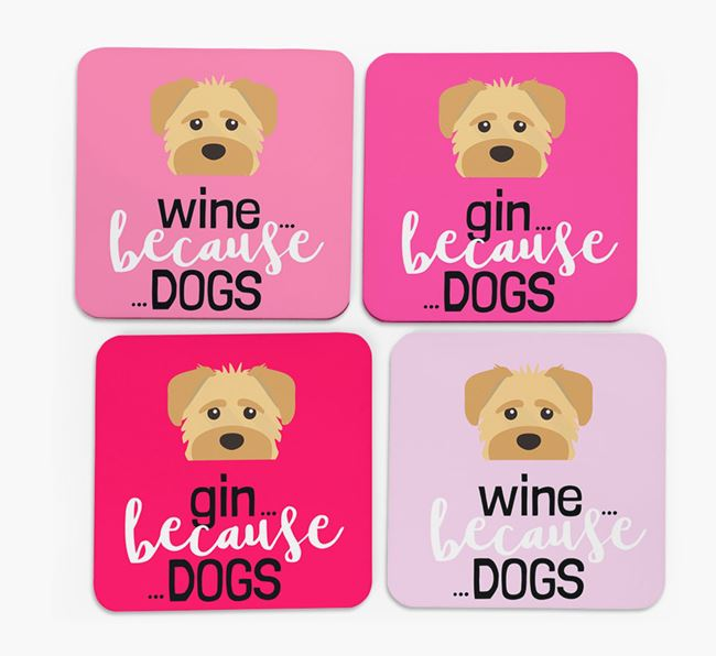 'Wine/Gin Because...Dogs' Coasters with Schnoodle icon - Set of 4