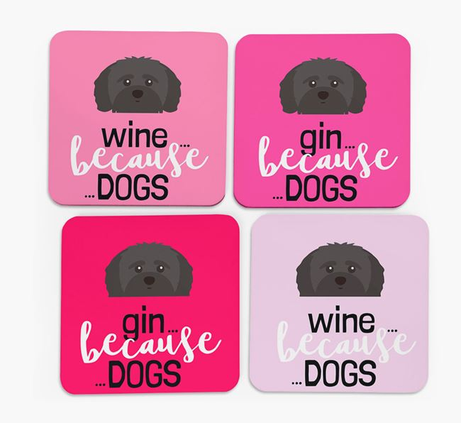 'Wine/Gin Because...Dogs' Coasters with Shih-poo icon - Set of 4