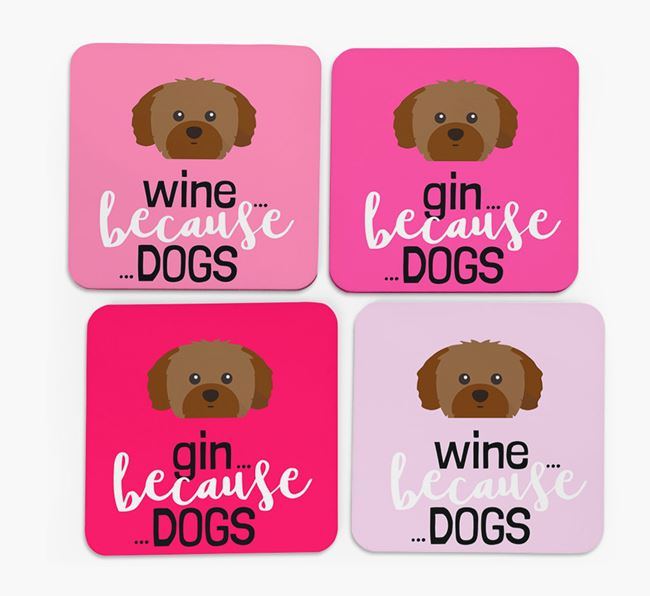 'Wine/Gin Because...Dogs' Coasters with Shih Tzu icon - Set of 4