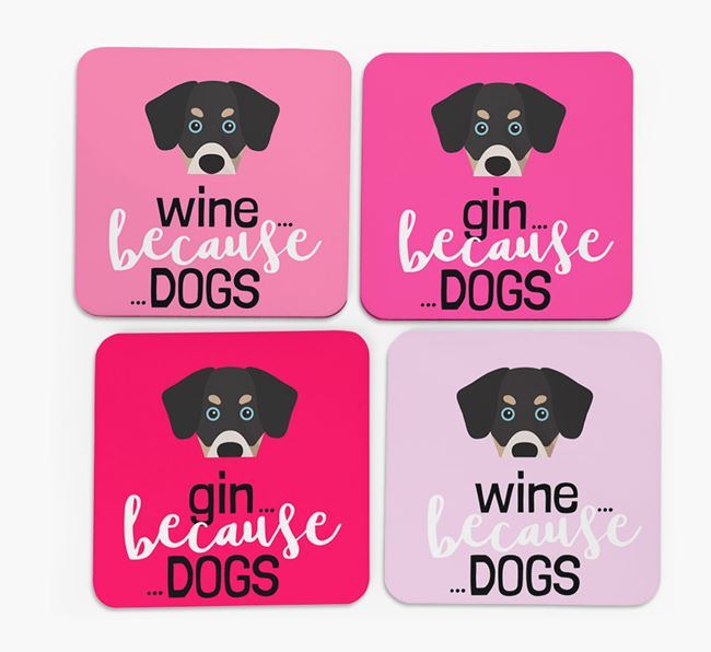 'Wine/Gin Because...Dogs' Coasters with Siberian Cocker icon - Set of 4