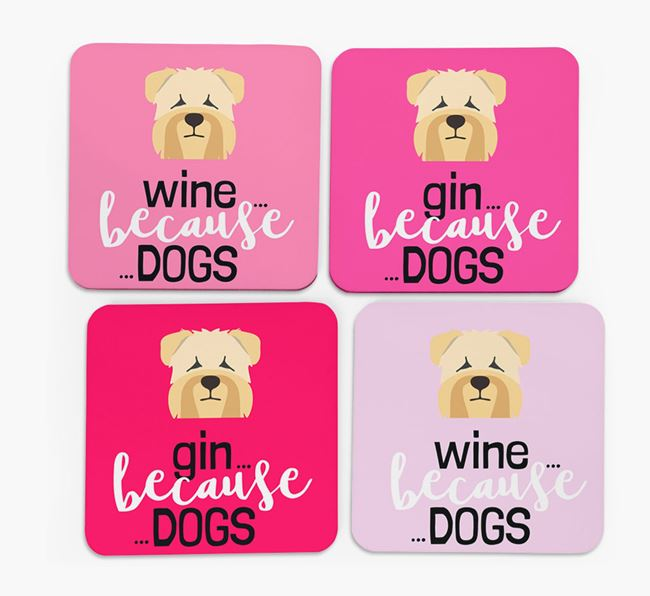 'Wine/Gin Because...Dogs' Coasters with Soft Coated Wheaten Terrier icon - Set of 4