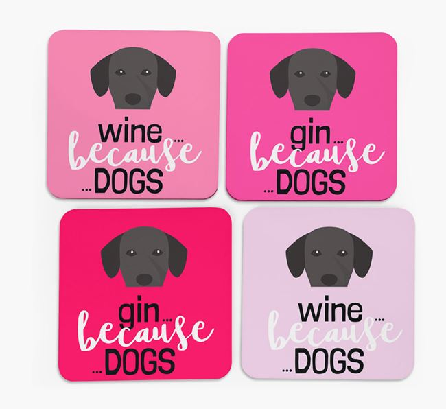 'Wine/Gin Because...Dogs' Coasters with Springador icon - Set of 4