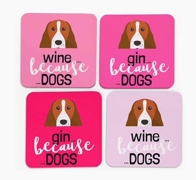 'Wine/Gin Because...Dogs' Coasters with Springer Spaniel icon - Set of 4