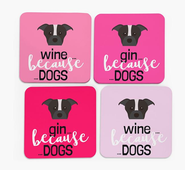 'Wine/Gin Because...Dogs' Coasters with Staffordshire Bull Terrier icon - Set of 4