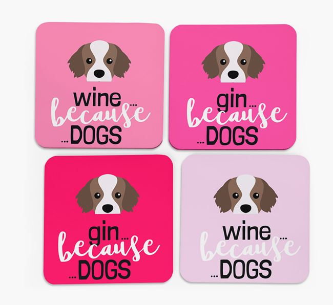 'Wine/Gin Because...Dogs' Coasters with Tibetan Spaniel icon - Set of 4