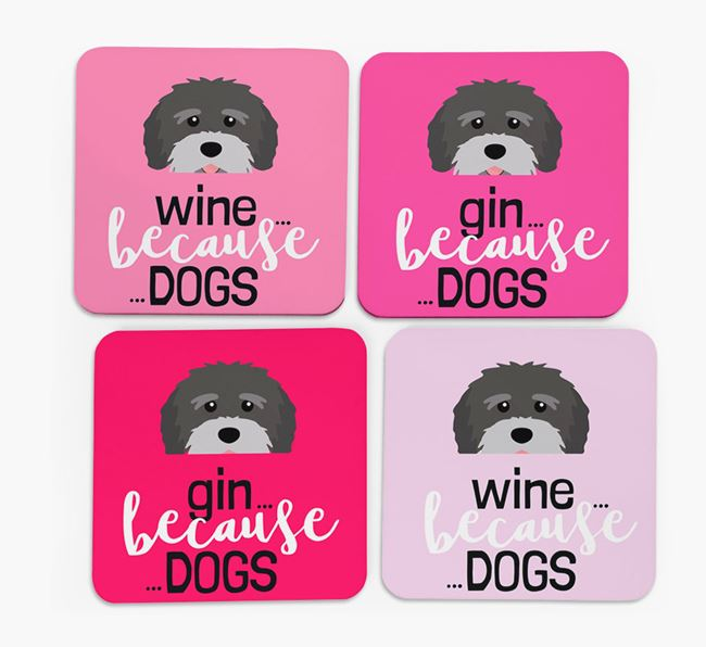'Wine/Gin Because...Dogs' Coasters with Tibetan Terrier icon - Set of 4