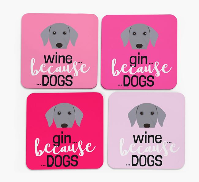 'Wine/Gin Because...Dogs' Coasters with Dog icon - Set of 4