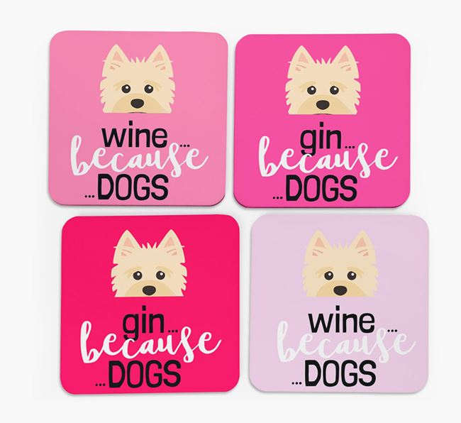 'Wine/Gin Because...Dogs' Coasters with Yorkshire Terrier icon - Set of 4