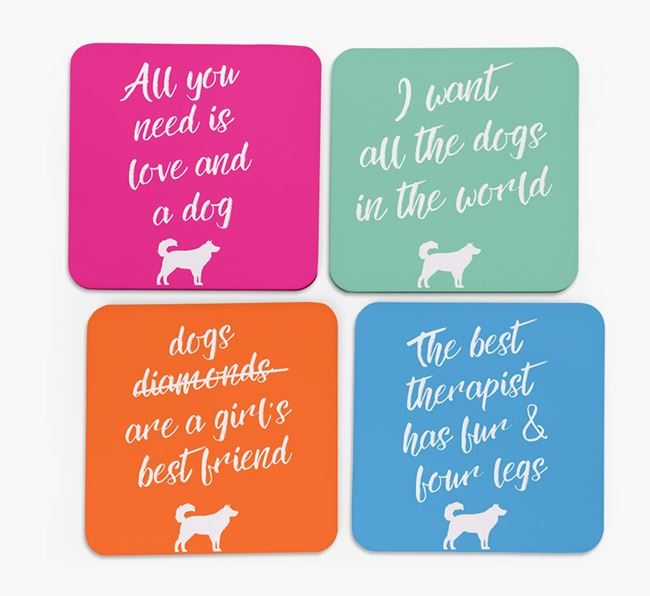 Quote Coasters with Australian Shepherd Silhouettes - Set of 4