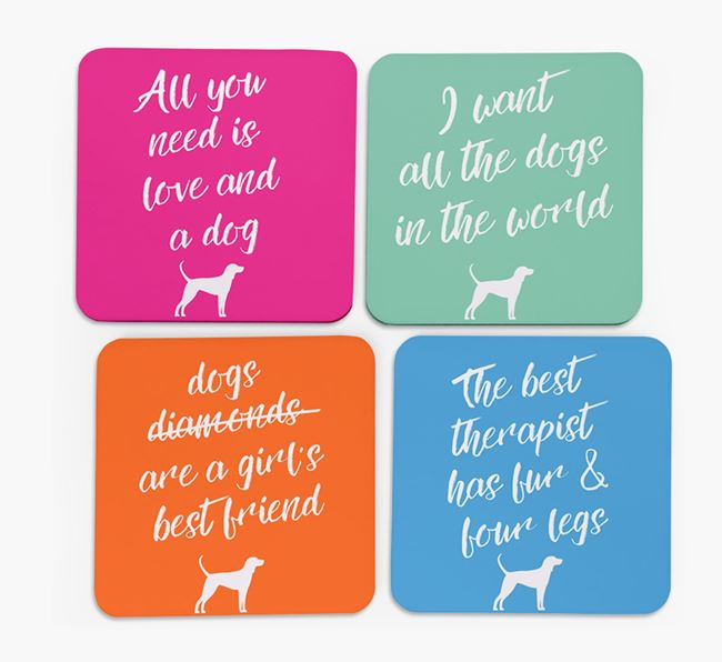 Quote Coasters with Black and Tan Coonhound Silhouettes - Set of 4