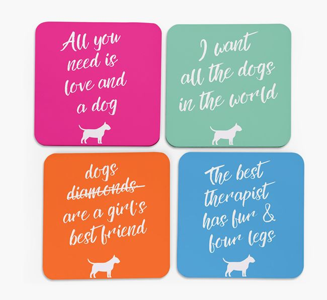 Quote Coasters with Bull Terrier Silhouettes - Set of 4