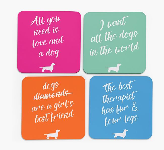 Quote Coasters with Dachshund Silhouettes - Set of 4