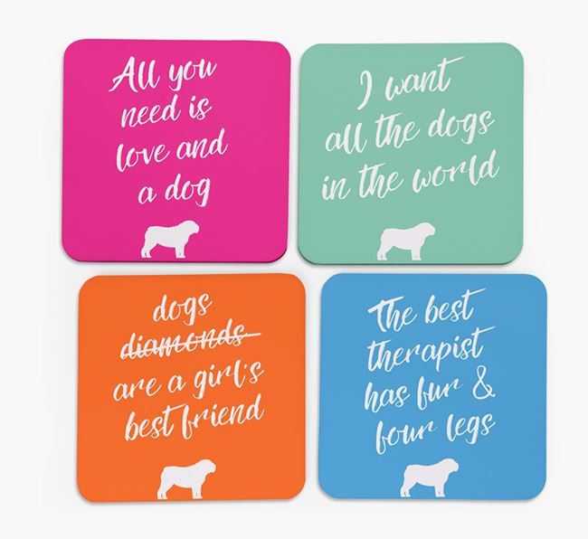 Quote Coasters with English Bulldog Silhouettes - Set of 4