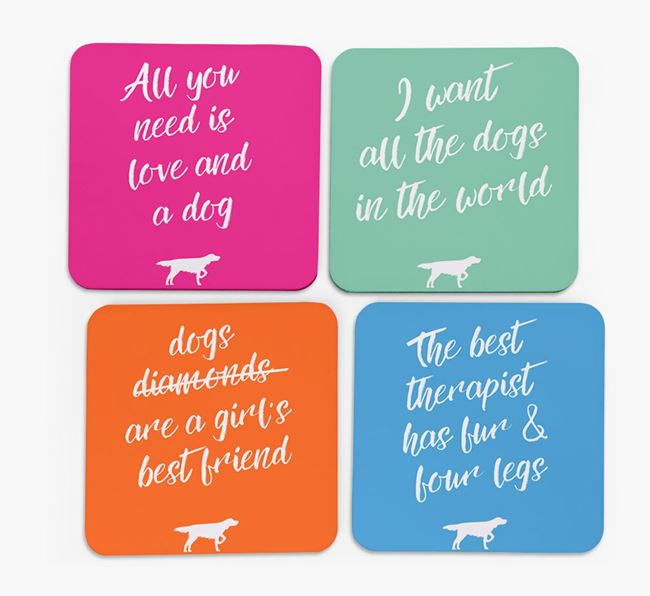 Quote Coasters with German Longhaired Pointer Silhouettes - Set of 4
