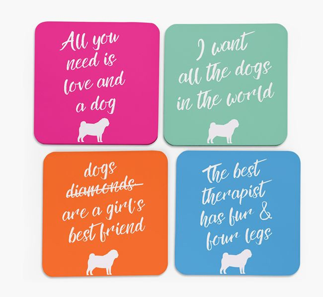 Quote Coasters with Pug Silhouettes - Set of 4