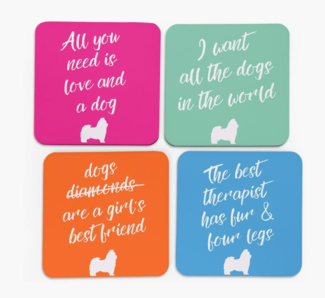 Quote Coasters with Shih Tzu Silhouettes - Set of 4
