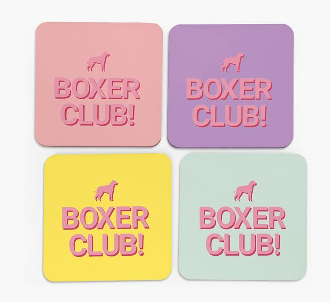 'Boxer Club' Coasters with Silhouettes - Set of 4
