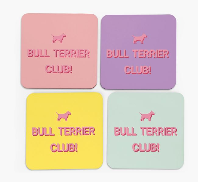 'Bull Terrier Club' Coasters with Silhouettes - Set of 4