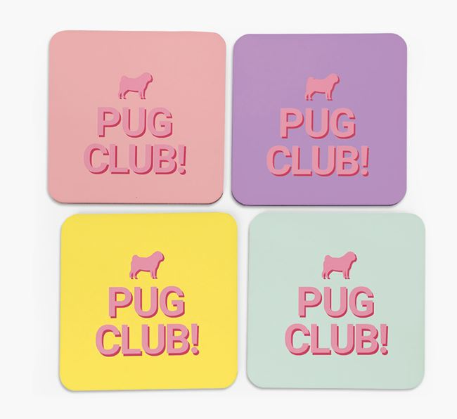 'Pug Club' Coasters with Silhouettes - Set of 4