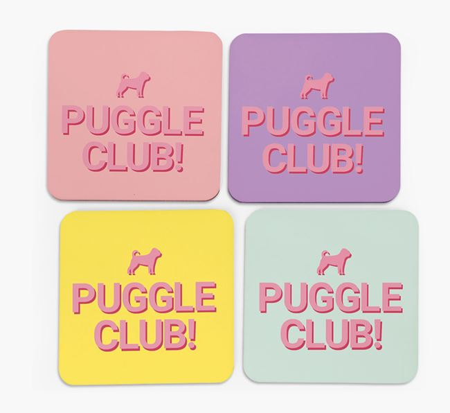 'Puggle Club' Coasters with Silhouettes - Set of 4