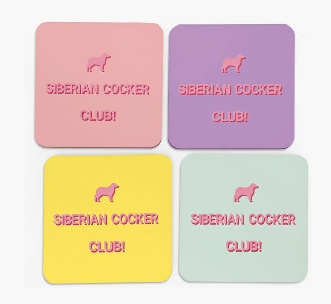 'Siberian Cocker Club' Coasters with Silhouettes - Set of 4