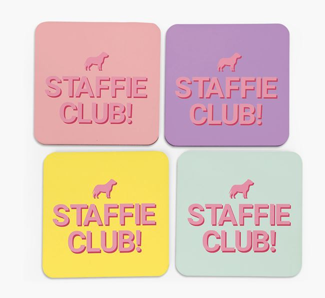 'Staffie Club' Coasters with Silhouettes - Set of 4