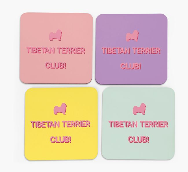 'Tibetan Terrier Club' Coasters with Silhouettes - Set of 4