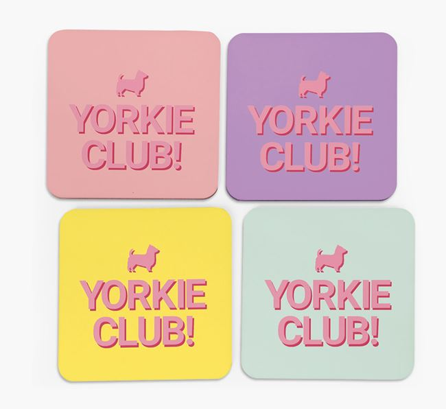 'Yorkie Club' Coasters with Silhouettes - Set of 4
