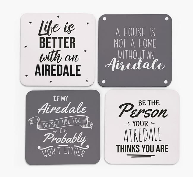 Airedale Terrier Quote Coasters - Set of 4