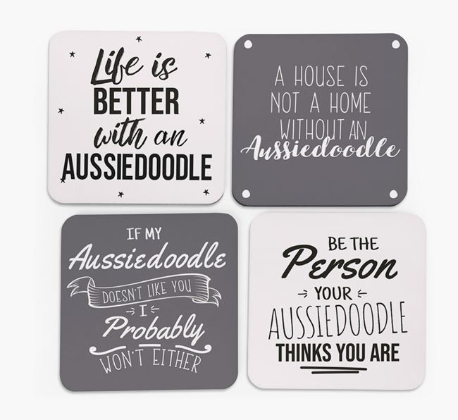 Aussiedoodle Quote Coasters - Set of 4