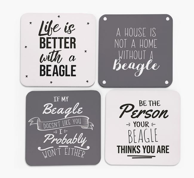 Beagle Quote Coasters - Set of 4