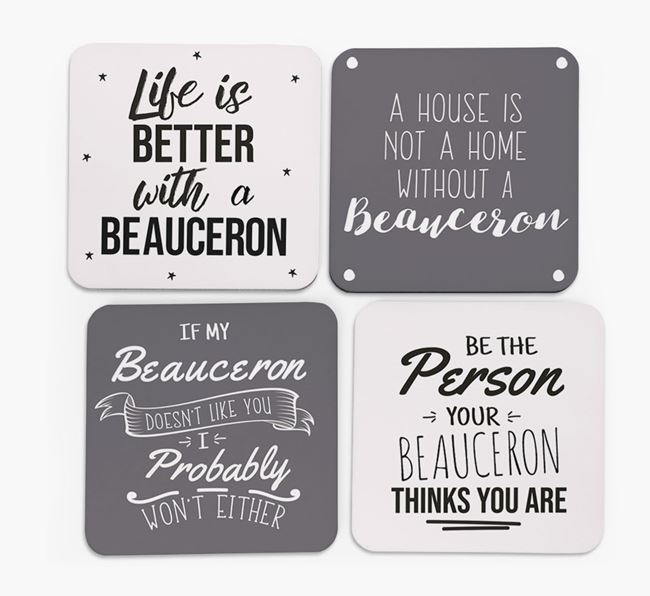 Beauceron Quote Coasters - Set of 4