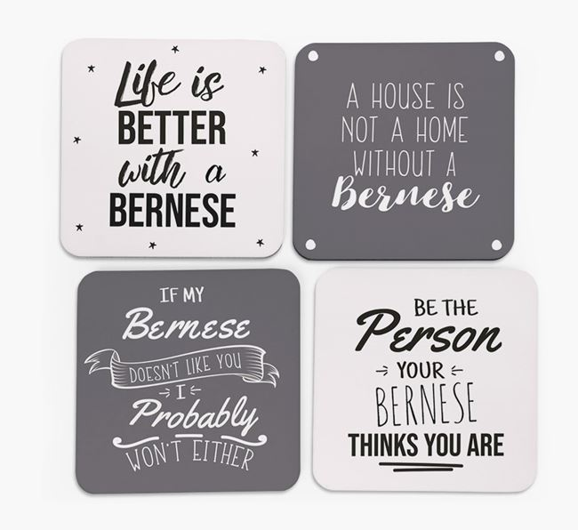 Bernese Mountain Dog Quote Coasters - Set of 4