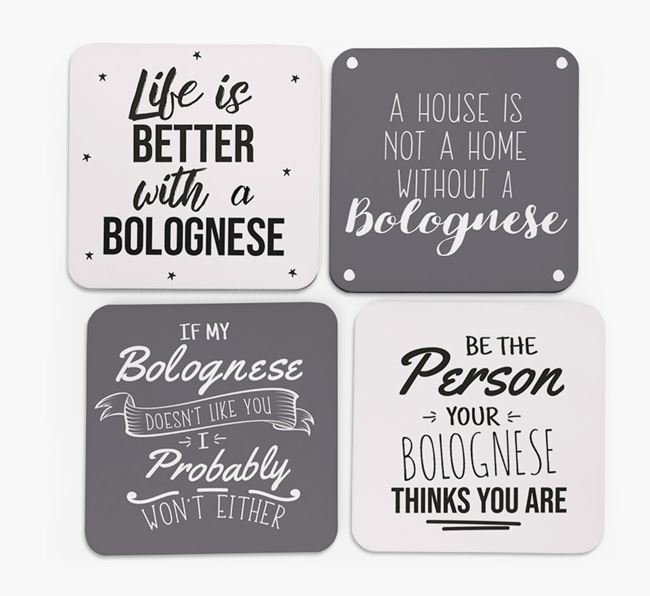 Bolognese Quote Coasters - Set of 4