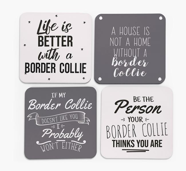 Border Collie Quote Coasters - Set of 4