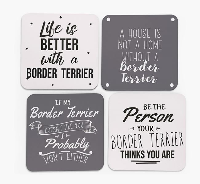 Border Terrier Quote Coasters - Set of 4