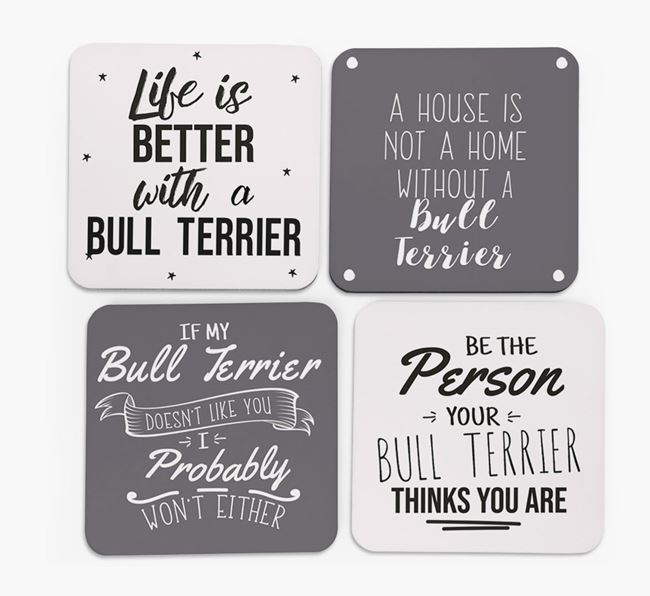 Bull Terrier Quote Coasters - Set of 4