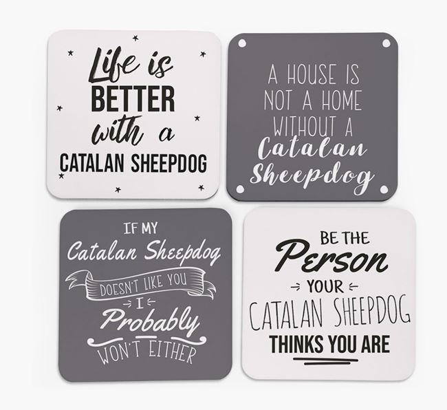 Catalan Sheepdog Quote Coasters - Set of 4