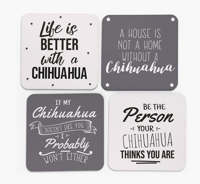 Chihuahua Quote Coasters - Set of 4
