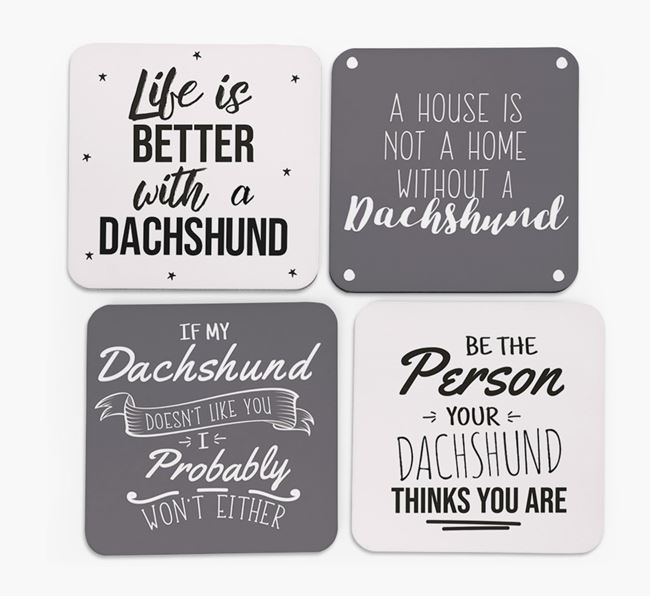 Dachshund Quote Coasters - Set of 4