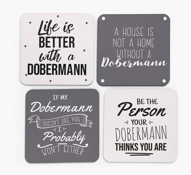 Dobermann Quote Coasters - Set of 4