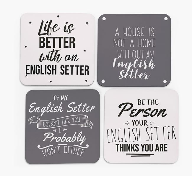 English Setter Quote Coasters - Set of 4