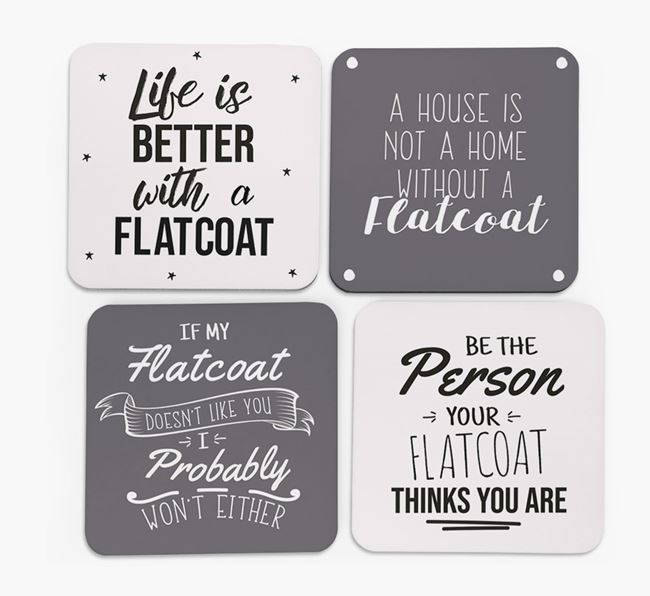 Flat-Coated Retriever Quote Coasters - Set of 4
