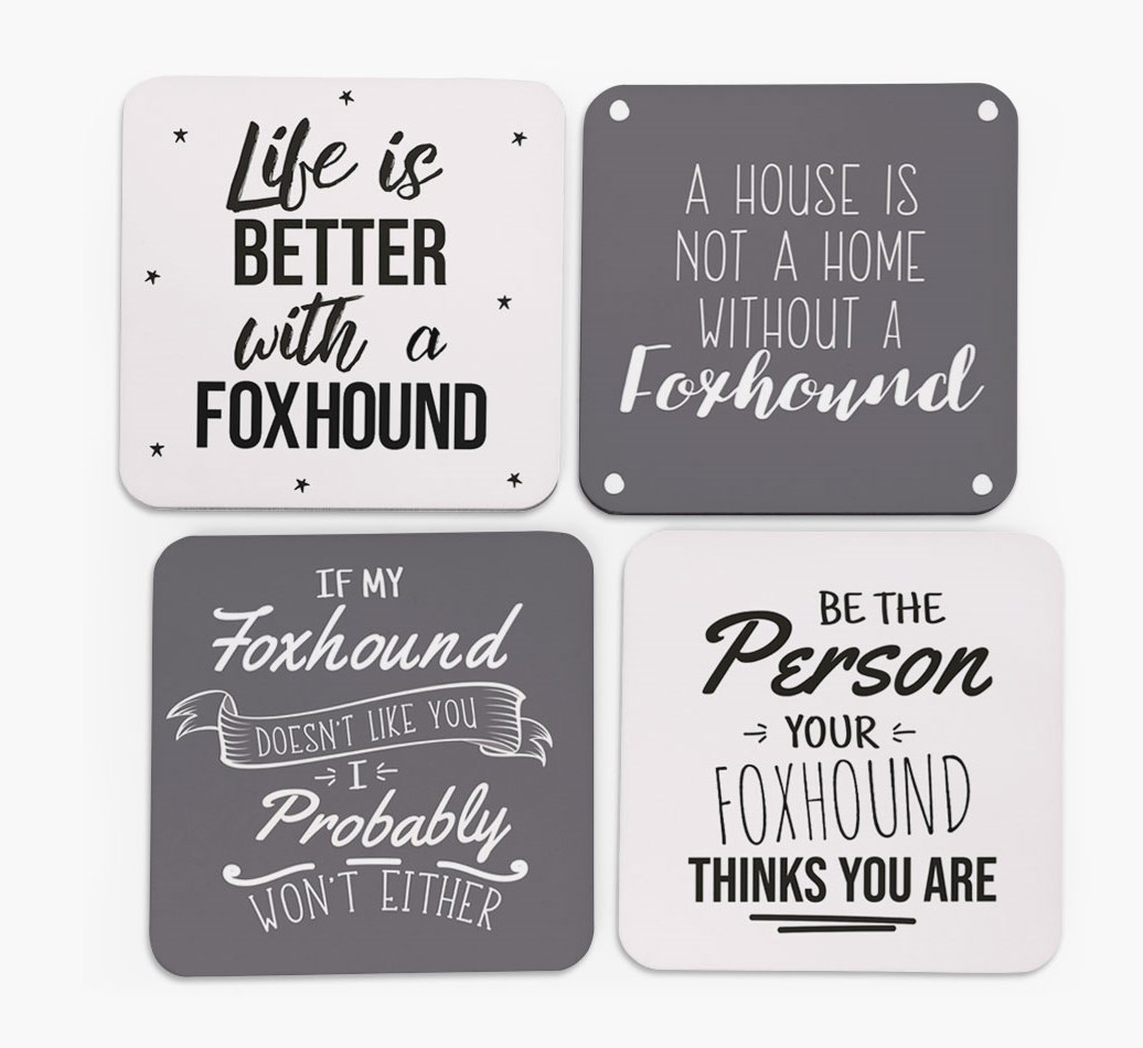 Foxhound Quote Coasters in Set of 4