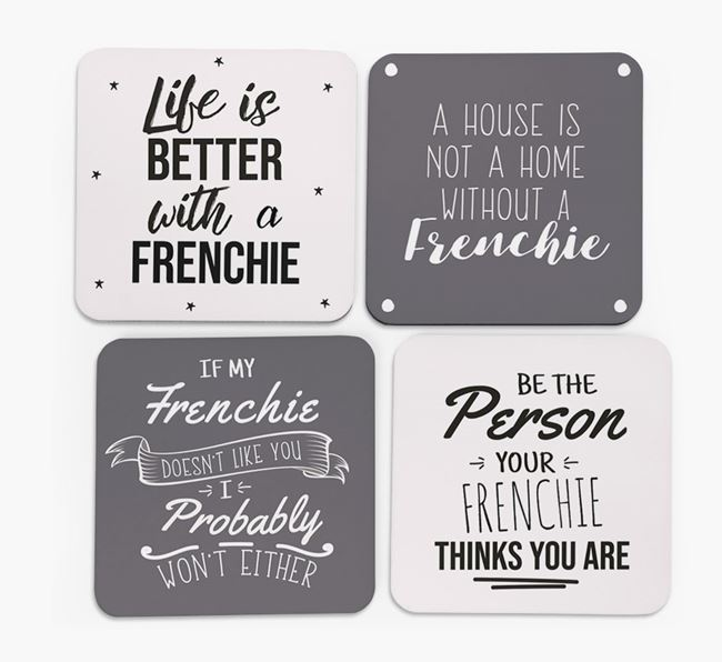 French Bulldog Quote Coasters - Set of 4