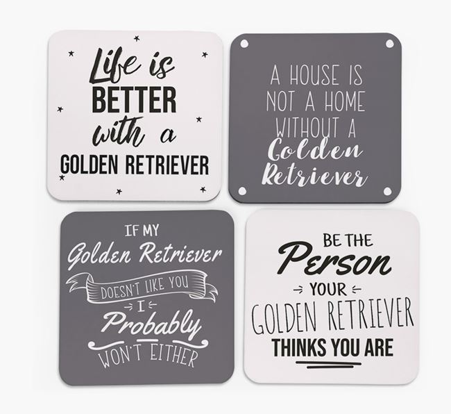 Golden Retriever Quote Coasters - Set of 4